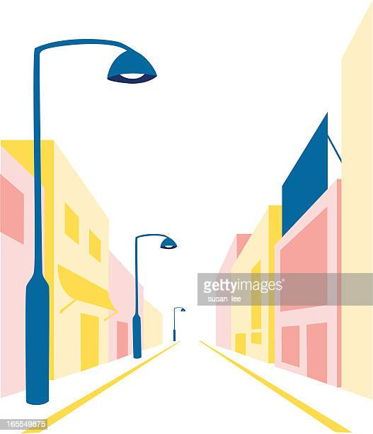 stockillustraties, clipart, cartoons en iconen met simple illustration of a street - stadsstraat