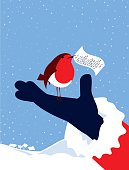 Simple Illustration Robin Bird, Note and Father Christmas