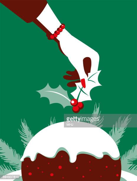 Simple Illustration Woman Putting Holly on Christmas Pudding