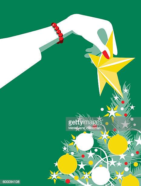 Simple Illustration Woman Putting Star on Christmas Tree