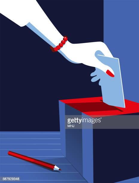 simple illustration woman voting at the ballot box - suffragist stock illustrations