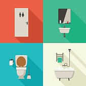 Simple illustrations of bathroom.