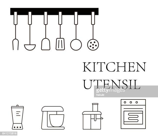 simple kitchen tools icon set, vector illustration - cooking utensil stock illustrations, clip art, cartoons, & icons