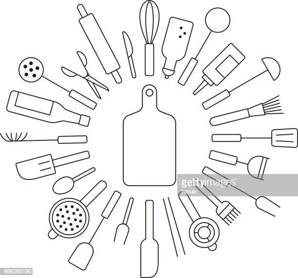 simple kitchen tools line icon circle set, vector illustration - egg beater stock illustrations, clip art, cartoons, & icons