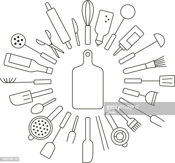 simple kitchen tools line icon circle set, vector illustration