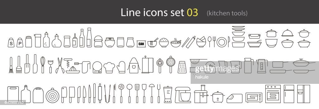 simple kitchen tools line icon set, vector illustration : stock illustration