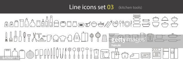 simple kitchen tools line icon set, vector illustration - paper towel stock illustrations, clip art, cartoons, & icons
