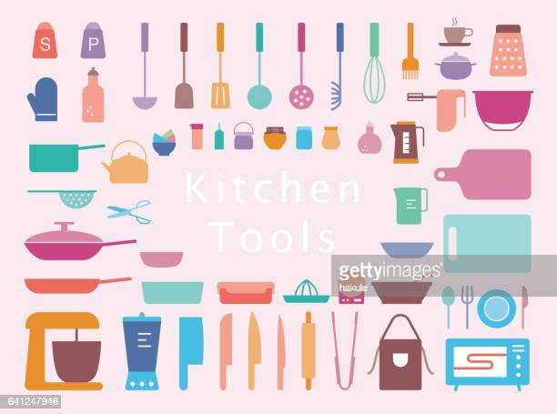 simple kitchen tools line icon set, vector illustration