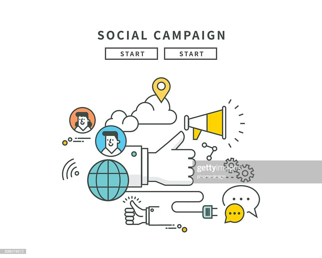 simple line flat design of social campaign, modern vector illustration