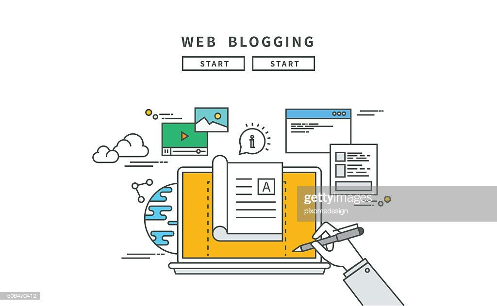 simple line flat design of web blogging, modern vector illustration