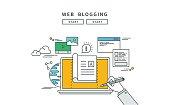 simple line flat design of web blogging, modern vector illustration