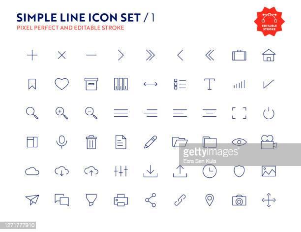 illustrazioni stock, clip art, cartoni animati e icone di tendenza di simple line icon set pixel perfect and editable stroke - interfaccia utente grafica