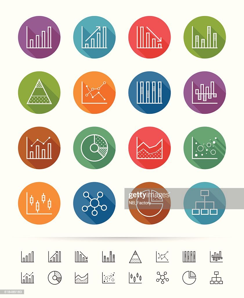 Simple line style : Chart and Graph icons set