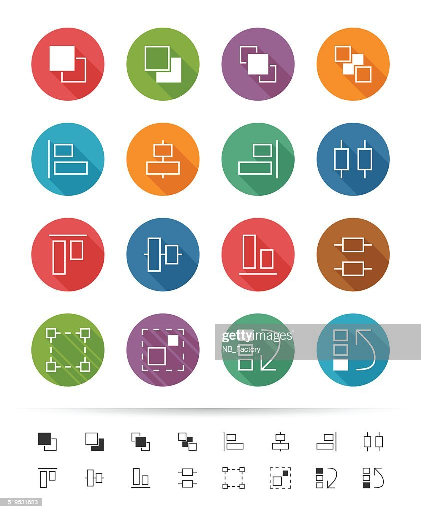 Simple line style : Graphic user interface element icons set 3