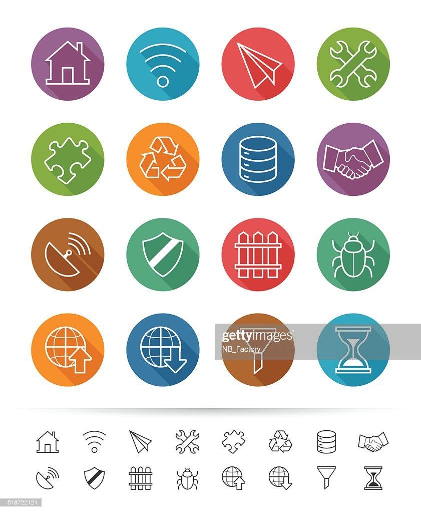 Simple line style : Internet & Communication icons set
