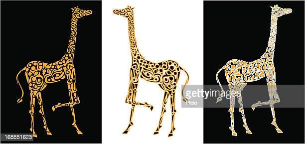 simple lino-cut style giraffe illustration
