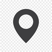 Simple location mark isolated on transparent background. Map pointer icon.