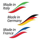 Simple Made in Italy, Made in Germany and Made in France, vector with Italian, German and French flags