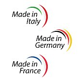 Simple Made in Italy, Made in Germany and Made in France, vector with Italian, German and French colors