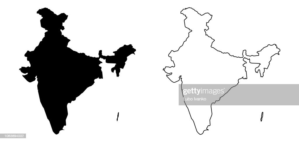 Simple (only sharp corners) map of India (including Andaman and Nicobar) vector drawing. Filled and outline version.