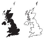 Simple (only sharp corners) map of - United Kingdom of Great Britain and Northern Ireland vector drawing. Mercator projection. Filled and outline version.