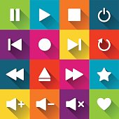 Simple media player icons on the colored tiles, flat design, vector illustration for your application, web, template