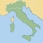 Simple Minimalistic Map Of Italy