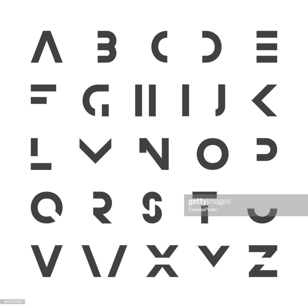 Simple modern font. Minimalistic english alphabet. Futuristic latin letters.