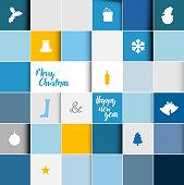 Simple modern vector christmas mosaic card