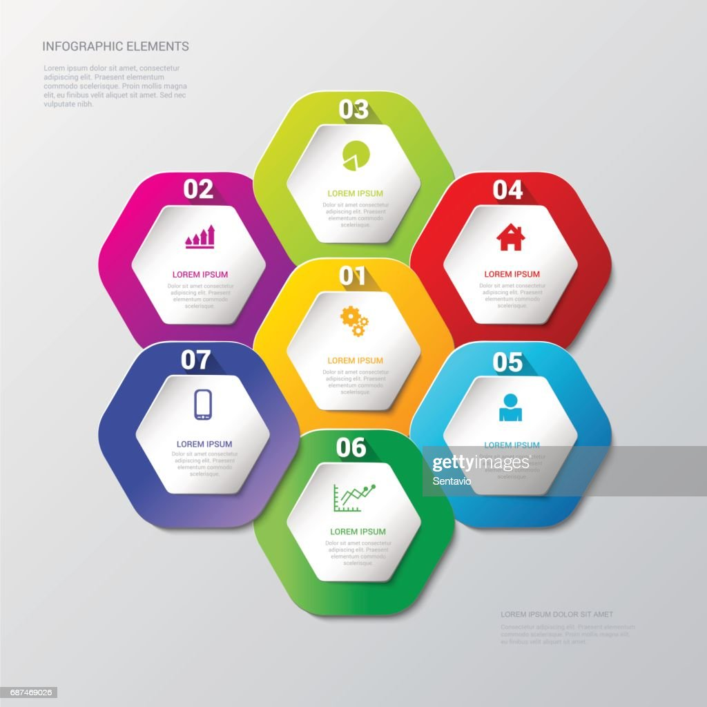 Simple Multicolor Step Honey Cell Honeycomb Hexagonal Process - Process steps template