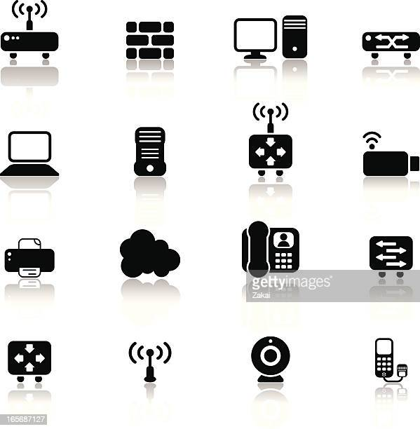 simple network components and devices with reflections - answering machine stock illustrations, clip art, cartoons, & icons
