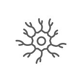Simple neuron, nerve line icon. Symbol and sign vector illustration design. Editable Stroke. Isolated on white background