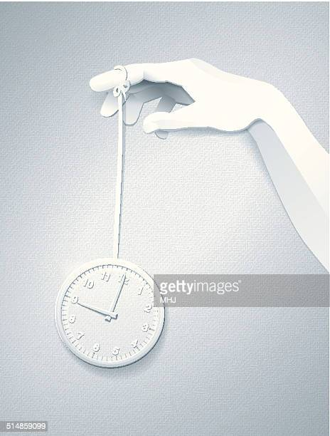 Simple Office Clock Toy Yoyo and Hand Paper Collage