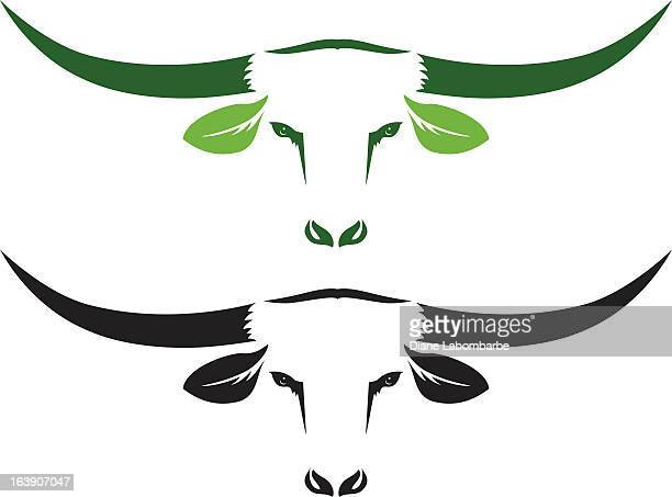 Simple Organic Beef icon Two Steer Heads isolated on white