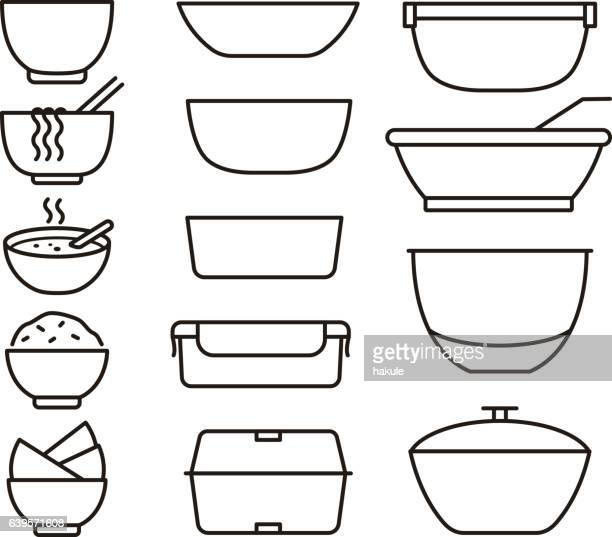 simple outline bowls and plates icon set, vector illustration