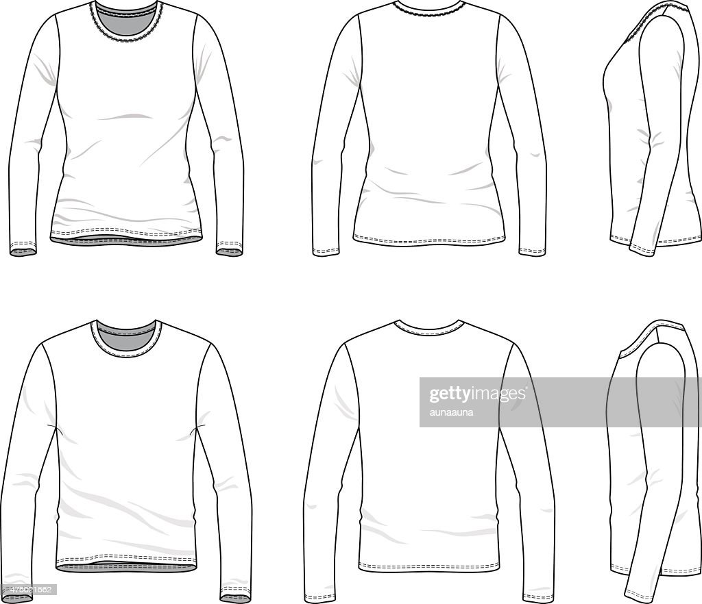 Simple outline drawing of a men's and women's blank tee