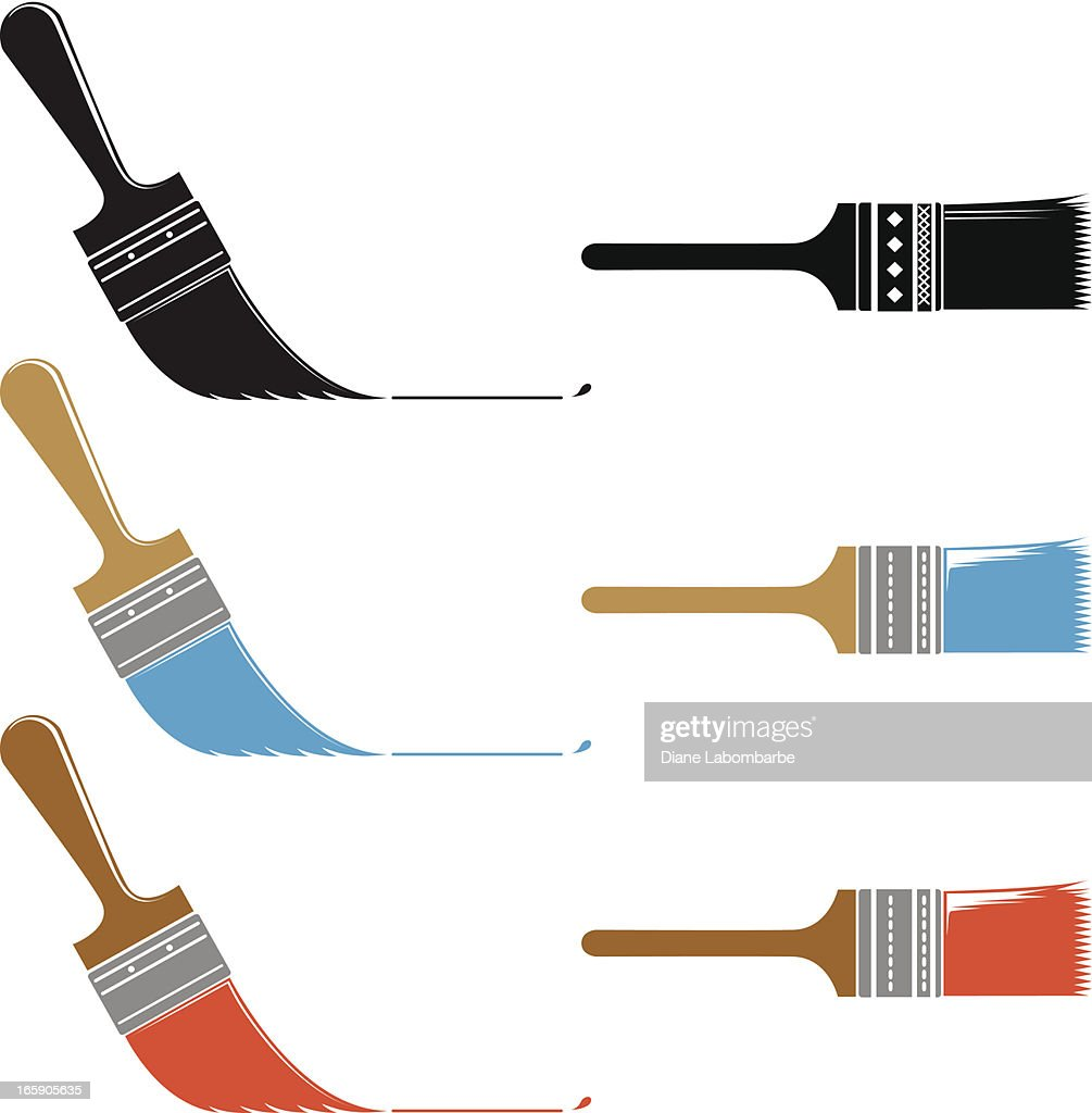 Simple Paintbrush Icons Set of Three Angle and Straight Brushes
