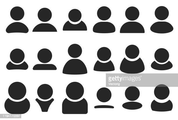 simple people heads icon set - people stock illustrations