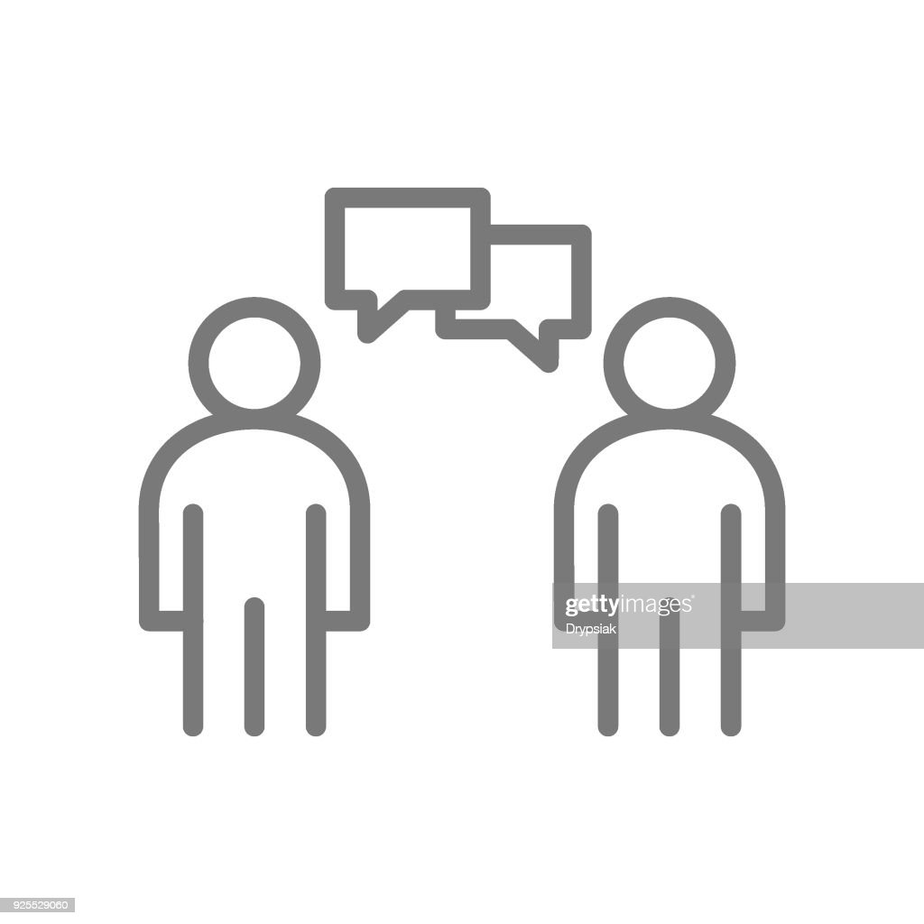 Simple people talking line icon. Symbol and sign vector illustration design. Isolated on white background