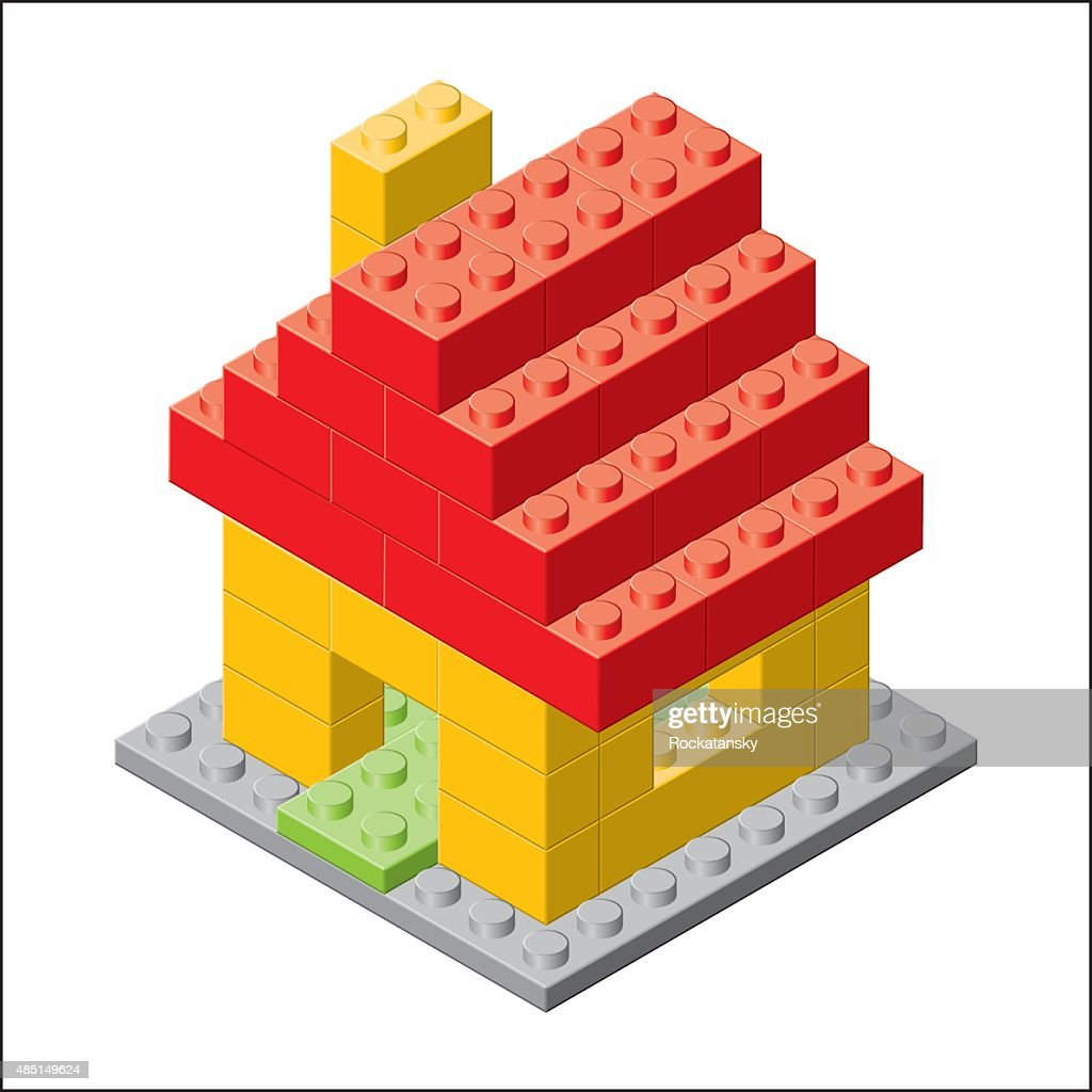 Simple plastic brick toy house.