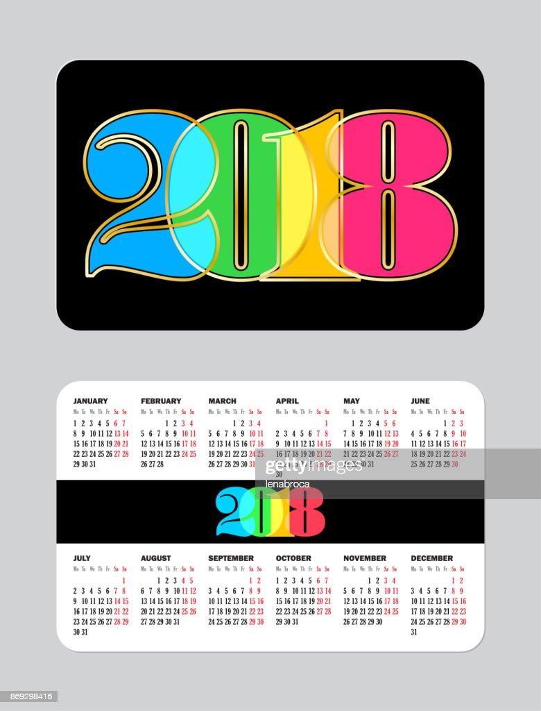 Simple pocket calendar 2018 week starts from monday