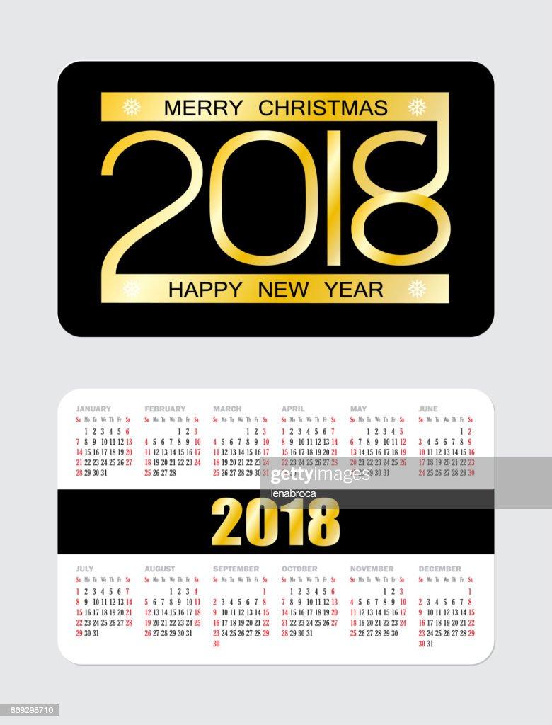 Simple pocket calendar 2018 week starts from Sunday