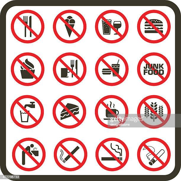 simple prohibited food, drink and smoking signs - unhealthy eating stock illustrations