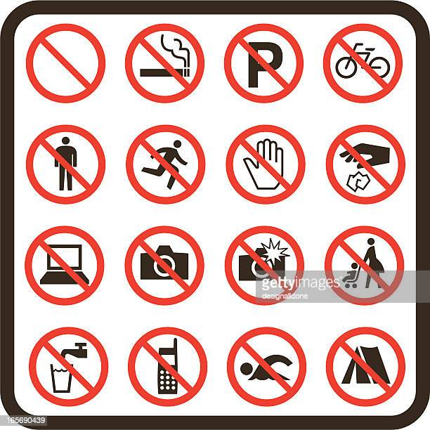 simple prohibited signs - forbidden stock illustrations
