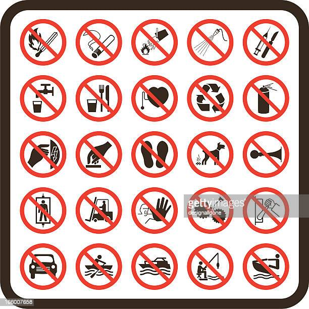simple prohibited warning signs - forbidden stock illustrations