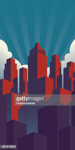 simple propaganda poster style city illustration with red buildings on a teal sky background - skyscraper stock illustrations