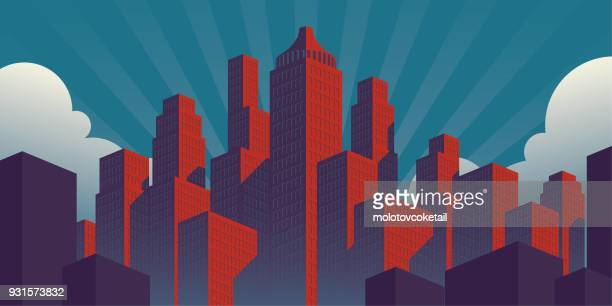 simple propaganda poster style city illustration with red buildings on a teal sky background - cityscape stock illustrations