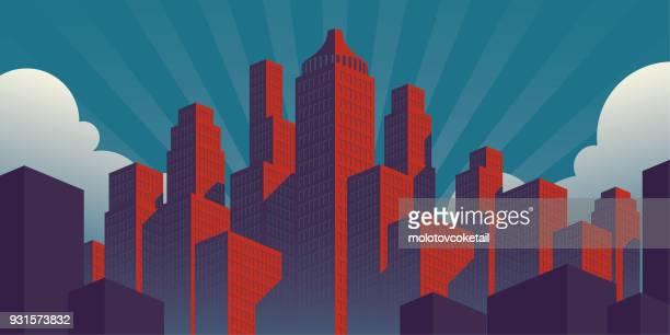 illustrazioni stock, clip art, cartoni animati e icone di tendenza di semplice illustrazione della città in stile poster di propaganda con edifici rossi su uno sfondo verde cielo verde-verde - paesaggio urbano