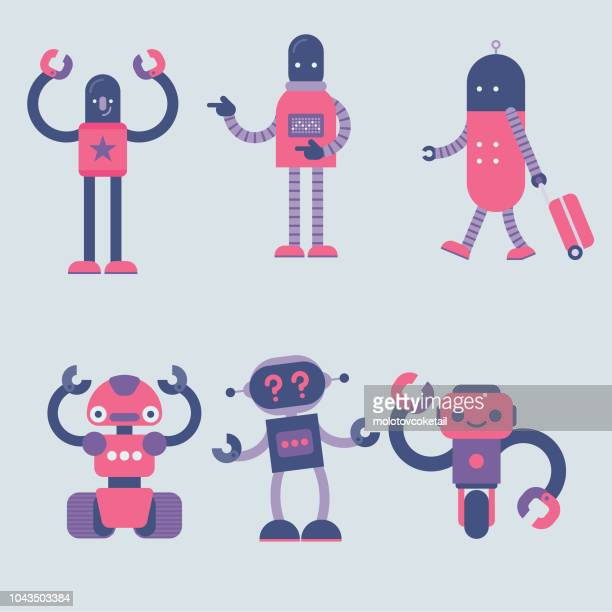 simple robot character set - robot stock illustrations