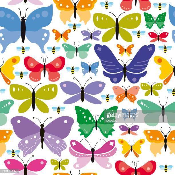 ilustrações, clipart, desenhos animados e ícones de plano de fundo simples borboletas sem emenda - borboleta